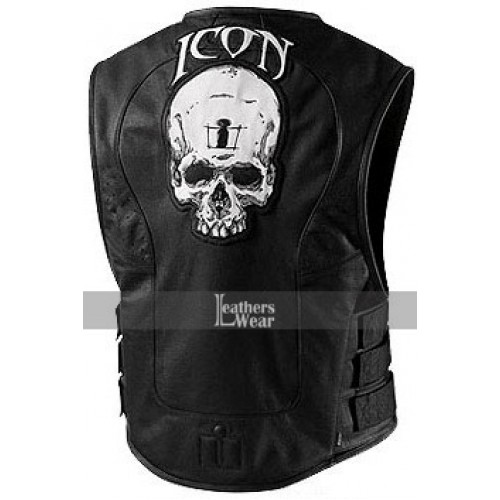 Icon Regulator Skull Leather Motorcycle Vest