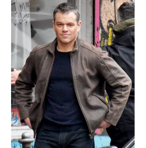 Jason Bourne 5 Matt Damon Brown Leather Jacket