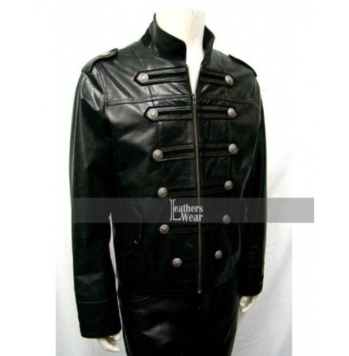Mens Military Moto Black Leather Jacket