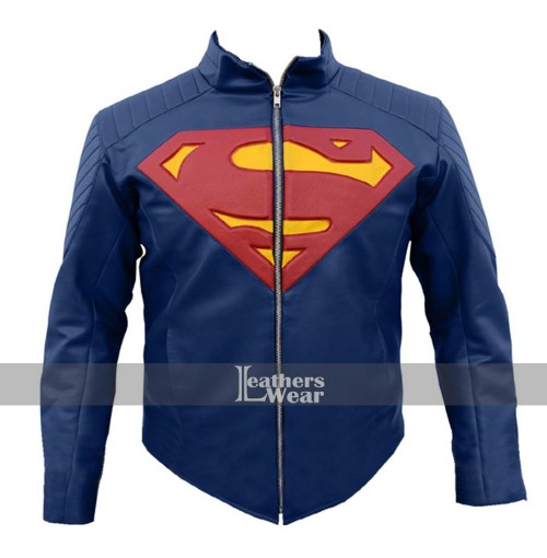 Man Of Steel Superman Blue Costume Leather Jacket