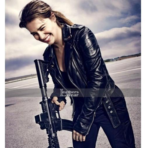Terminator Genisys Sarah Connor Biker Black Jacket