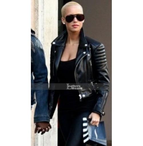 Amber Rose Biker Black Leather Jacket
