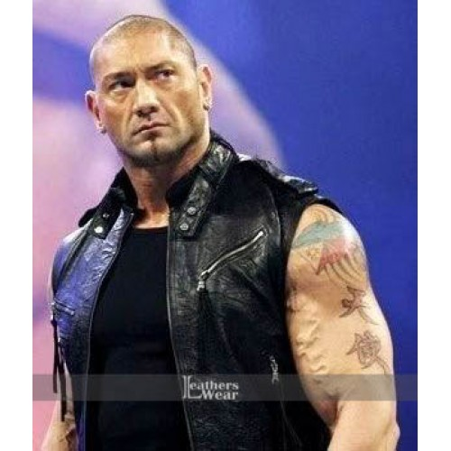 Dave Batista WWE Leather Black Vest