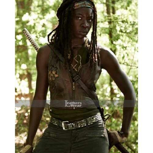 The Walking Dead Michonne Brown Leather Vest