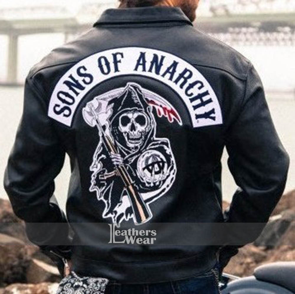 Leather jacket patches - Sons Of Anarchy Charlie Hunnam Jax Teller Leather Jacket